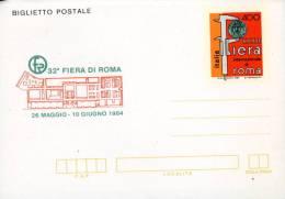BIGLIETTO POSTALE 400 L 1984 FIERA ROMA NUOVO - Stamped Stationery