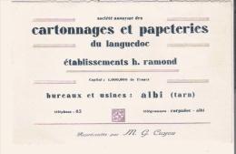CARTE DE VISITE ANCIENNE CARTONNAGES ET PAPETERIES DU LANGUEDOC ETS H RAMOND A ALBI (81) - Visiting Cards