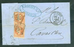 Yvert N°31 Paire Sur LAC ( Défectueux )   Oblitéré Gc 260 , 4 Avril 1870  Ad23238 - Marcofilie (Brieven)