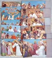Rare Serie Cpa Religieuse 13 X Litho Chromo ILLUSTRATEUR Carton Epais Bord Gris Jesus Station Chemin De Croix  9x14cm - Jezus