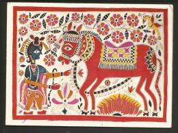CP1528 * 1 CARTE POSTALE Art Du Mithila Peinture Village Madhubani Vallée Gange Rama Cheval Inde India - Inde