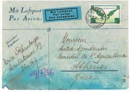 LETTRE .DU. 24.7.1936 . ZÜRICH. Pour . ATHENES .(Timbres .n° 15z. POSTE AERIENNE .) - Altri Documenti