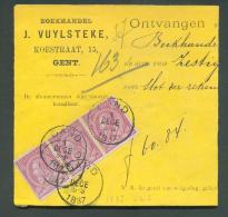 N°46(bande De Trois) Obl; Sc GAND 1 Décembre 1887 Sur Reçu Du Libraire Dierickx-Beke à Mechelen Pour BOEKHANDEL J. VUYLS - Timbres