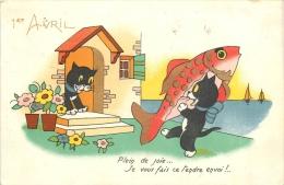 CHAT NOIR ET POISSON D'AVRIL 1er AVRIL EDITION M.D. - Chats
