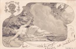 CARTE POSTALE ILLUSTREE De 1902  Diable Satan Rêve érotique Femme - Nus Adultes (< 1960)