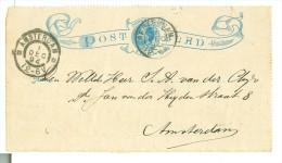 POSTBLAD VOORBLAD HANDGESCHREVEN VOORDRUK 5 CENT GELOPEN IN 1894 LOKAAL AMSTERDAM   (7894d) - Postal Stationery