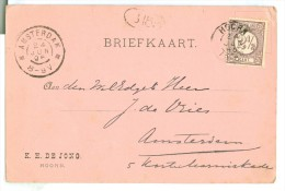 HANDGESCHREVEN BRIEFKAART GELOPEN IN 1896 Van HOORN Naar AMSTERDAM NVPH NR 33 (7894h) - Periode 1891-1948 (Wilhelmina)