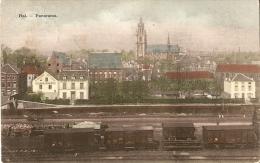 Hal Panorama La Gare Du Chemin De Fer (wagons)bertels 1909 Couleur Fabrique D´éponges - Halle