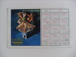 Calendarietto/calendario 1953/1954 Radio Siemens MILANO. Campionato Calcio SERIE A Divisione Nazionale - Calendari