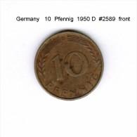 GERMANY   10  PFENNIG  1950 D   (KM # 108) - 10 Pfennig