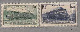 FRANCE 1937 Transport Train Locomotive Yv 339-340 Mi 345-346 Mint Neuf (*) #17014 - Neufs