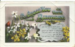 """To Greet You On Your Birthday A & G Taylor's """"Orthchrome"""" Series Copyright Pictorial Postcards Z.O. 1181 - Birthday"""