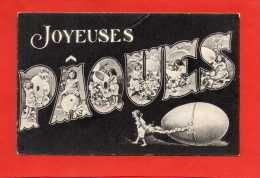 1020 -  Joyeuses Pâques -fillettes -  Oeufs  - Fleurs - Noir Et Blanc - (recto-verso) - Pasqua