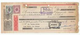 LETRA DE CAMBIO Años 50 Con Sellos Y Timbres - Banco Hispano Americano - Hospitalet De Llobregat - Letras De Cambio