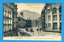 CP, 38, GRENOBLE, Rue Félix Poulat - L'Eglise St Louis Et Le Moucherotte, Voyagé En 1914 - Grenoble