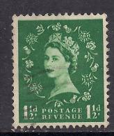 GB 1955 QE2 1 1/2d Green Wilding Wmk 165 SG 542. ( M820 ) - 1952-.... (Elizabeth II)