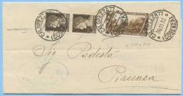 1932 DECENNALE C. 5 + IMP. C. 10x2 PIEGO TARIFFA RIDOTTA 30.11.32 CALOPEZZATI (COSENZA) SPLENDIDA MONOCOLORE (A131) - Storia Postale