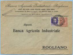 1930 LEONI C. 10 + IMPERIALE C. 50 BUSTA APERTA BANCA ROGLIANO (COSENZA) 4.6.30 TARIFFA MANOSCRITTI NON COMUNE MISTA(M95 - 1900-44 Vittorio Emanuele III