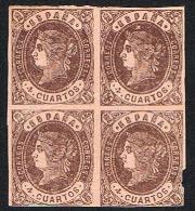 Ed. 58 Isabel I 4 Cuartos Bloque 4 Nuevo Sin Char. LEER - 1850-68 Royaume: Isabelle II