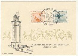 DDR Michel No. 707 - 708 auf Karte Turn und Sportfest Leipzig 1959