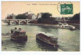 Cpa Paris, Ile De La Cité Et Pont Neuf , Publicités Chocolat Menier Et Maggi , Ed. ELD 4004 - Le Anse Della Senna