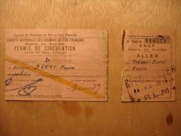 PERMIS DE CIRCULATION SNCF - 21 JUIN 1946 - PIERRE BERRY - TREVES BUREL FEURS - TICKET TITRE DE TRANSPORT - Transportation
