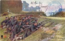 SOLDATS BELGES EN EMBUSCADE SUR L'YSER + CACHET 62eme REGIMENT D'INFANTERIE GUERRE BELGIQUE - Guerra 1914-18