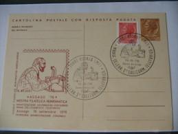 CARTOLINA POSTALE CON RISPOSTA PAGATA - 1976 ASSAGO MOSTRA FILATELICA NUMISMATICA - ANNULLO PRIMO COLLEGAMENTO TELEFONIC - Interi Postali