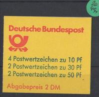 BRD  Markenheft  Postfrisch   MH-MiNr. 22  I U - Blocchi