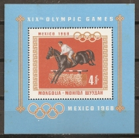 JUEGOS OLÍMPICOS - MONGOLIA 1968 - Yvert #H15 - MNH ** (Puntos De Oxido En La Goma) - Summer 1968: Mexico City