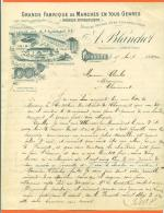 """52 Haute Marne - Poissons  """" Facture A Blanchot - Fabrique De Manches Scierie  """" 1900 - Petits Métiers"""