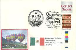 USA. Concours De Ballons Montés , Parc De Quechee, Au Vermont 2009, Adressée Au Mexique - Event Covers