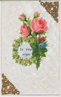 Carte Matiere Chromo  Roses Myosotis Marguerite Je Vous Aime - Cartes Postales