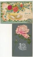 2 Cp Gaufrée Theme Rose Tissu , Soie 2 Cards Embossed Silk  1 Cp Petite Dechirure - Ansichtskarten