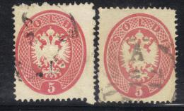 ASI656 - LOMBARDO VENETO 1863 , 5 Soldi N. 38 Le Due Nuance Usate. Dent 14 - Lombardo-Veneto