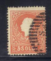 ASI667 - LOMBARDO VENETO 1858 , 5 Soldi N. 25 Primo Tipo Usato . - Lombardo-Veneto