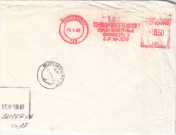 AMOUNT 18.50, BUCHAREST, WOOD COMPANY, MACHINE STAMPS ON FRAGMENT, 1990, ROMANIA - Marcophilie - EMA (Empreintes Machines)