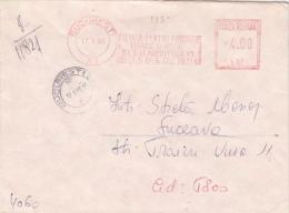 AMOUNT 4.00, SAVINESTI, PAPER COMPANY, MACHINE STAMPS ON REGISTERED COVER, 1990, ROMANIA - Marcophilie - EMA (Empreintes Machines)