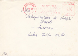 AMOUNT 2.00, BUCHAREST, INSTITUTE, MACHINE STAMPS ON COVER, 1990, ROMANIA - Marcophilie - EMA (Empreintes Machines)