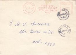 AMOUNT 4.00, BUCHAREST, MINISTERYY, MACHINE STAMPS ON REGISTERED FRAGMENT, 1990, ROMANIA - Marcophilie - EMA (Empreintes Machines)