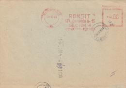 AMOUNT 4.00, BUCHAREST, COMPANY, MACHINE STAMPS ON REGISTERED FRAGMENT, 1989, ROMANIA - Marcophilie - EMA (Empreintes Machines)