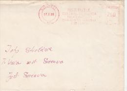 AMOUNT 2.00, BUCHAREST, INSTITUTE, MACHINE STAMPS ON FRAGMENT, 1990, ROMANIA - Marcophilie - EMA (Empreintes Machines)