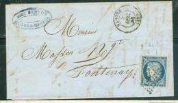 Yvert N°4 SUR LAC Oblitéré Petits Chiffres 2221 Nantes , 3/12/1852 - Ad23109 - 1849-1850 Cérès