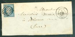 Yvert N°4 Oblitéré Grille , Cad Caen 5/07/1851 Sur Grand Devant   Avec Une Partie Du Dos - Ad23111 - 1849-1850 Cérès