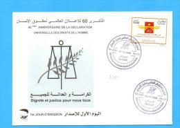 Algérie Algeria Algerien FDC 60 Anniversary Declaration Human Rights Droit De L'Homme Homme  Logo 2008 - Unclassified
