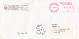 AMOUNT 3400, CLUJ NAPOCA, TELECM COMPANY, MACHINE STAMPS ON REGISTERED COVER, 2000, ROMANIA - Marcophilie - EMA (Empreintes Machines)