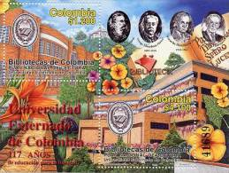 Lote HF57, Colombia, 2003, Hoja Filatelica, SS, Biblioteca Universidad Externado, Libraries, University, Flora - Colombia