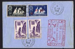 1948  Première Liaison Postale Aérienne Avec Le Canada   Goélette  France Libre Yv299,, 318, 321, 326 X2, 334 - St.Pierre & Miquelon