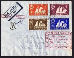 1948  Première Liaison Postale Aérienne Avec Le Canada  Goélette  France Libre Yv 304, 305, 306, 307 - St.Pierre & Miquelon