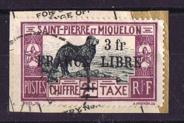 Chien De TerreNeuve 2 Fr Surchargé «FRANCE LIBRE / F.N.F.L.» Et Nouvelle Valeur 3 Fr  Sur Petit Fragment Yv - Timbres-taxe
